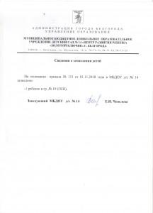 Сведения о зачислении 06.11.2018 г.